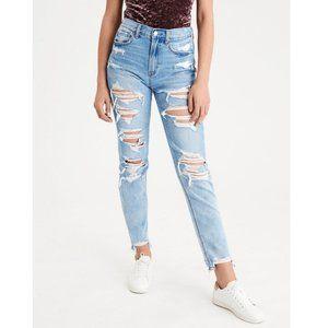 American Eagle High Waisted Denim Mom Jeans Super Destroyed Distressed Frayed
